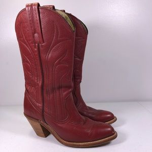 Frye Western Pull On Lipstick Red Cowboy Boots